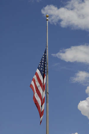 unites: Lewiston Idaho USA- 16  June 2016_Amercain flag at half mast tp pay respect to 49 dead and 50 injured in terrorest shooting killing Orlando,Florida,USA Editorial