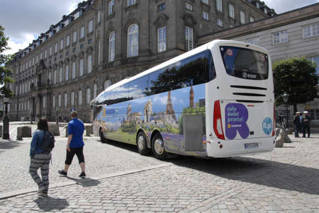 sommer: Copenhagen  Denmark. 04 July 2016_   Torusits and shoppers on stroget due to sommer sale in Copenhagen bus tourists from Poland visiting Denmark Editorial