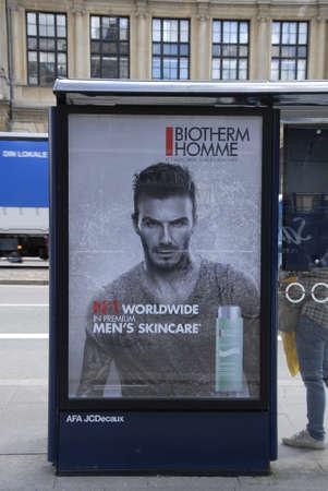 robert: Copenhagen  Denmark. 04 July 2016_Billboard with David Robert Joseph Beckham add for No.1 worldwide in premium men,s skineare at bus stop in Copenhagen Denmark