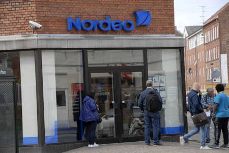 bank branch: Copenhagen  Denmark. 05 July 2016_ Nordea bank branch in Copenhagen, Denmark Editorial