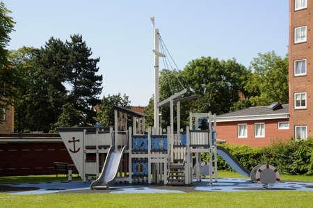 play ground: Kastrup Copenhagen Denmark. 13 July 2016_ Children play ground in danish residential area on Alleen Kastrup Denmark