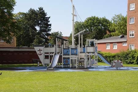 children play area: Kastrup Copenhagen Denmark. 13 July 2016_ Children play ground in danish residential area on Alleen Kastrup Denmark