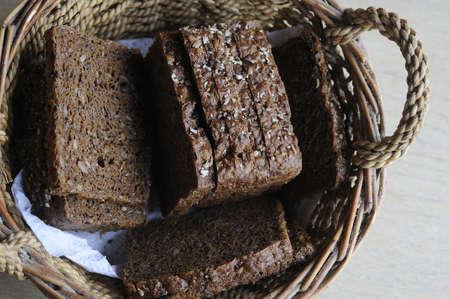 Kastrup Copenhagen Denmark. 16 July 2016_ Organic  (nyt nordisk ?kologisk rustikt fuldkorn) Danish rye loaf and rye bread (danish black bread ) danske rugbr?d)