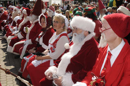 christma: Bakken Klempenborg Copenhagen_Denmark_  20 July 2016-2nd.day of Santas from worlwide including United States and Uk and Japan and europan countries gether 3 days International Santa convention (congress) at Bakken Klempenborg Copenhagen Denmark Editorial