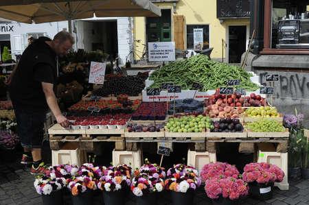 Copenhagen_Denmark_  01 August  2016- Fruit vendor in Copenhagen, Denmark