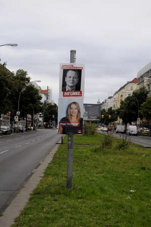 local election: Berlin - Germany_  11 August  2016-Banners and playcards of various political candidate for local election in near future in Germany . Editorial