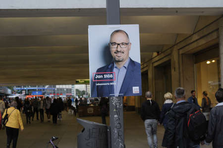 local election: Berlin - Germany_  11 August  2016-Banners and playcards of various political candidate for local election in near future in Germany Editorial