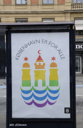 townhall: 18 August  2016-  Copenhagen townhall paint Copenhagen Town hall sybble with rainbow colour to celebrate 20 years Copenahgen pride for lesbian and gays    in Copenhagen  Denmark  Editorial