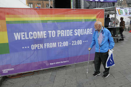 18 20 years: 18 August  2016-2nd day of Copenhagen pride lesbian and gay celebrate 20 years pride and among there are minority high light their rights i their own communities stand and people gether at Copenhagen town hall square   in Copenhagen , Denmark
