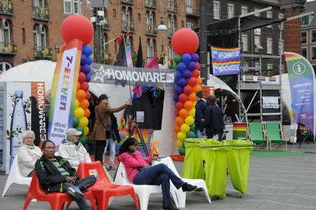 18 20: 18 August  2016-2nd day of Copenhagen pride lesbian and gay celebrate 20 years pride and among there are minority high light their rights i their own communities stand and people gether at Copenhagen town hall square   in Copenhagen , Denmark