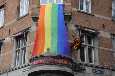 hardrock: 18 August  2016-Seven Eleven and american Hardrock cafe decorate with rainbow copenhagen pride colour to celebrate 20 years of pride    in Copenhagen  Denmark