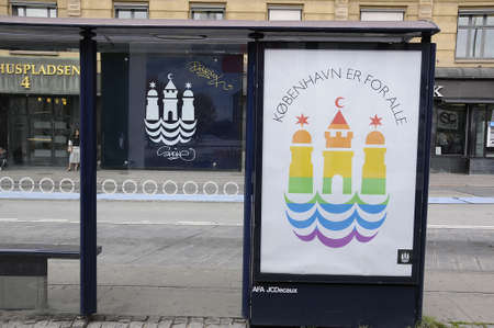 18 20 years: 18 August  2016-  Copenhagen townhall paint Copenhagen Town hall sybble with rainbow colour to celebrate 20 years Copenahgen pride for lesbian and gays    in Copenhagen  Denmark  Editorial