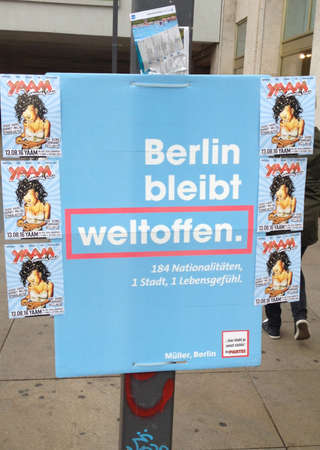 local election: 12 August  2016-Berlin lection poster been vandlised by unknow person     in Berlin Germany.
