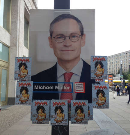 local election: 12 August  2016-Berlin lection poster been vandlised by unknow person     in Berlin Germany  Editorial