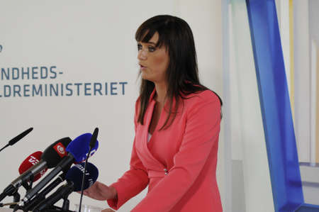 high light: 24 August  2016- Ms.Sophie Lohde (Sophie L?hde)danish minister for health and senior minister hiolds press conference and high light government police for cancer diseas and how to cure and better danish health system press conference is hold at Rigshopita
