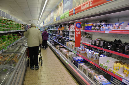 food chain: 29 August  2016-Consumers and shoppers at German Lidl food chain store     KastrupCopenhagen  Denmark
