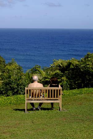 KAUAI ISLAND  HAWAII USA _ Mainland  vacationers walking and enjoying ocean view at Theclift resort at princeville north Kauai island  11 Jan 2013