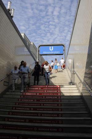 alexandra: 16 September  2016- People walking to Underground U_Bahn at Alexandra Platz estern part of berlin    in Berlingermany