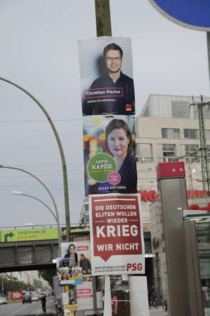 politicians: 17 September  2016-Lichtenberg-Berlin politicians on elections rally at Frankurter Allee from green party Ms.Antije Kapek SPD social democrat Christian Paulus and from CDU Christine N?nthe and die like today on saturday fr sunday elections     in Berling