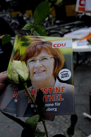 christine: 17 September  2016-Lichtenberg-Berlin politicians on elections rally at Frankurter Allee from green party Ms.Antije Kapek SPD social democrat Christian Paulus and from CDU Christine N�nthe and die like today on saturday fr sunday elections     in Berling
