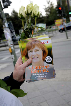 17 September  2016-Lichtenberg-Berlin politicians on elections rally at Frankurter Allee from green party Ms.Antije Kapek SPD social democrat Christian Paulus and from CDU Christine N?nthe and die like today on saturday fr sunday elections     in Berling