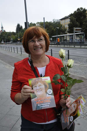 christine: 17 September  2016-Lichtenberg-Berlin politicians on elections rally at Frankurter Allee from green party Ms.Antije Kapek SPD social democrat Christian Paulus and from CDU Christine N?nthe and die like today on saturday fr sunday elections     in Berling