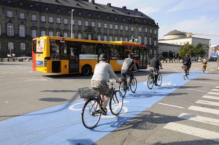bike lane: 25 September  2016- Danish biker ride on bike lane in Copenhagen  Denmark