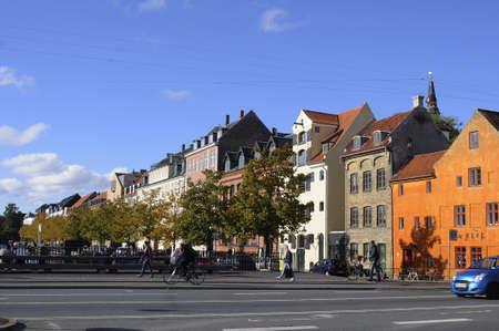 travler: 08 October 2016-Christianshavn torv and canal in    Copenhagen Denmark  Editorial