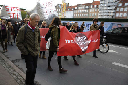 protest: Copenhagen  Denmark_ 27th October 2016 _  Thusand stange protest rally in danish capital protest to  stop TTIP and Ceta agreetment. Editorial