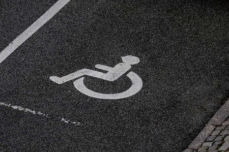 kastrup: Sign of handicape parking place in Kastrup . Stock Photo