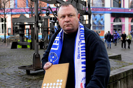 leicester: Copenhagen  Denmark_ 02nd.. November 2016 _  British Leicester city football club will play match with FC Copenhagen tonight Leicester city fans showing pasport to obtain match tickets and clubs steward working as secutty people at Leicesyer city footbal