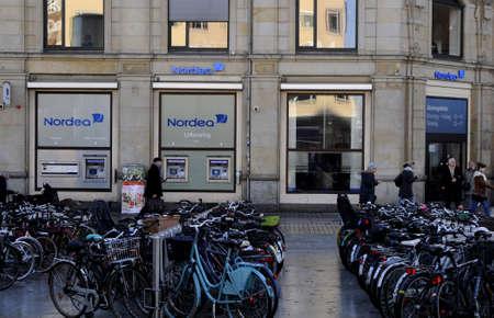17th: Copenhagen  Denmark- 17th. November 2016 : Nordea bank branch on norrebro station.