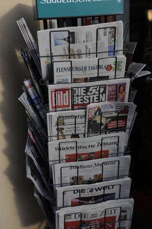 news stand: flensborgFlensburgSchleswig -Holstein Der echte Norden Germany_  22th. November 2016 .   Geran print news papers at German news stand in Flensburg .