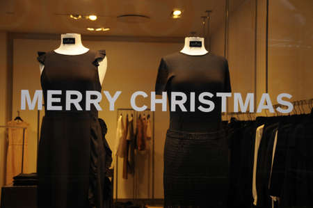 chritmas: Copenhagen  Denmark_  05.December  2016 - Christmas window decorations and christmas message Merry Chritmas. Editorial