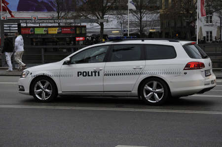 Copenhagen  Denmark_  05.December  2016 - Danish police vehicle  (politi bil)