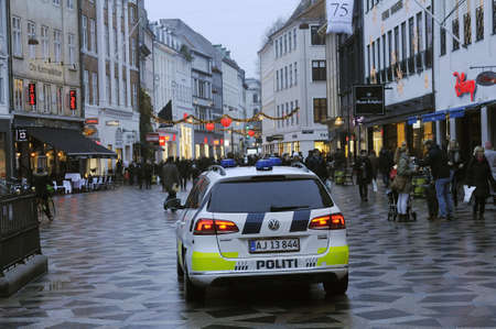 attacked: Copenhagen  Denmark:  22th December 2016 -Danish police on security in Denmark because terrorist attacked in Berlin Germany where 12 people  died and  this week and police patrol.