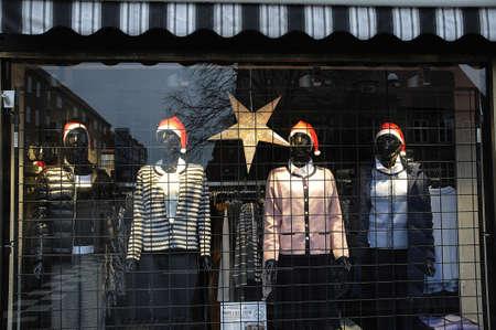 kastrup: Kastrup_ Copenhagen_Denmark _ 25th December  2016_ Mannequins with santa cap at women dress store. Editorial