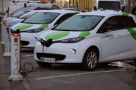 recharge: Copenhagen  Denmark_  06 January 2017 -  Renault Zoe elctric car at recharge e-on booth  from GreenMobilty your city car.