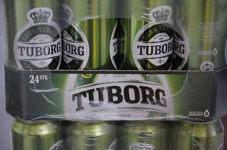 Kastrup_ Copenhagen_Denmark _ 18January 2017_Denmarks 2nd brand name Tuborg beer is from samel beer factory Carlsberg . Editorial