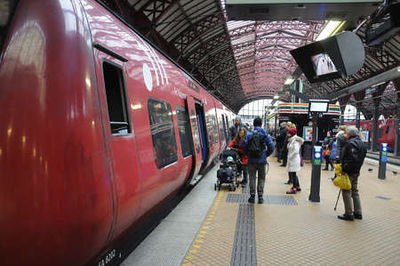 Copenhagen / Denmark_  18January 2017 -DBS danish public transportaation local S stran .