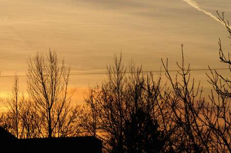 kastrup: Kastrup Copenhagen_Denmark  19.January 2017 Sunset over kastrup. Stock Photo