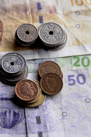 Danish currency in kroners and various coins. Stock Photo