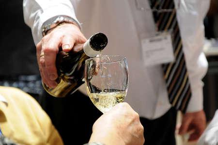 Herning  Denmark_  24.February 2017 -Various germany white wine tasting in Herning Trvel fair or Ferie for all  for danish  travel journalists association .