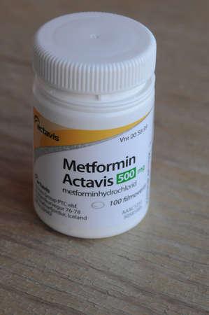 metformin: Kastrup_ Copenhagen_Denmark _11 March  2017_ Metformin actavis 500 gm medicne for diabetes disease . Editorial