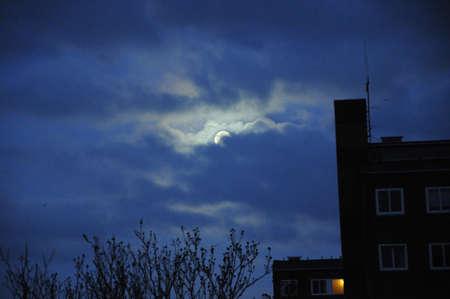 kastrup: Kastrup_ Copenhagen_Denmark _11 .April 2017_Early morning moon over Copenhagen.   Stock Photo