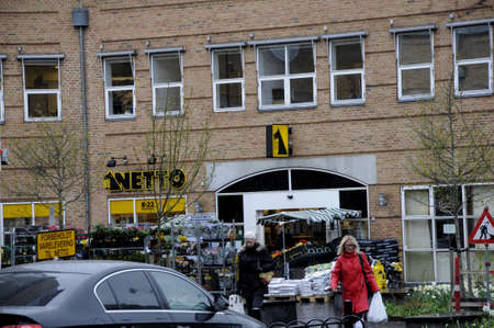 fakta: Kastrup_ Copenhagen_Denmark _12.April 2017_Danish Fakta food chain store and most other danish food chains and german food chain store are closed for easter holidays  thursday long friday and open on satureday closed on easter sunday and monday for holida