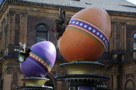 giant easter egg: Copenhagen_Denmark _16 April 2017_  Visitors waiting at Tivoli garden on easter sunday tivoli klovn  entertain visitors prior to easter opening tivoli gadren decoarted with easter eggs and tulips flowers  . (Photo. Francis DeanDeanpictures.) Editorial