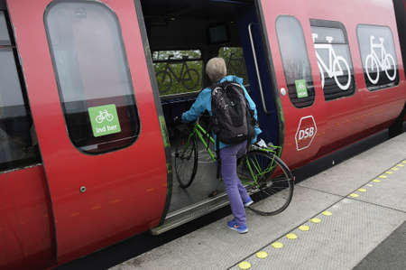 Copenhagen_Denmark _10 May 2017_ DSB  S Train own by the danish state  and passenger can transport bikes from one destination to next Editorial