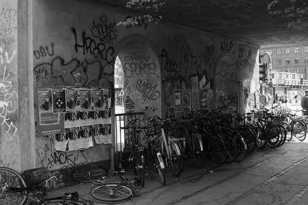 francis dean: Copenhagen  Denmark - 14.May 2017. Norreport train statrion bus stop  Graffiti arts or vandalizeum at Norrebro Copenhagen. Editorial