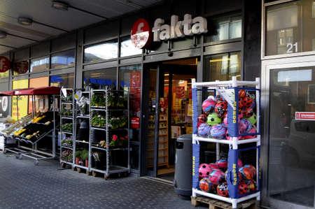 fakta: Copenhagen Denmark - 20. May 2017.  Danish food chain Fakta on kastruplundgade. Editorial